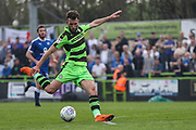 Forest Green Rovers Christian Doidge(9) shoots at goal during the EFL Sky Bet League 2 match between Forest Green Rovers and Chesterfield at the New Lawn, Forest Green, United Kingdom on 21 April 2018. Picture by Shane Healey.