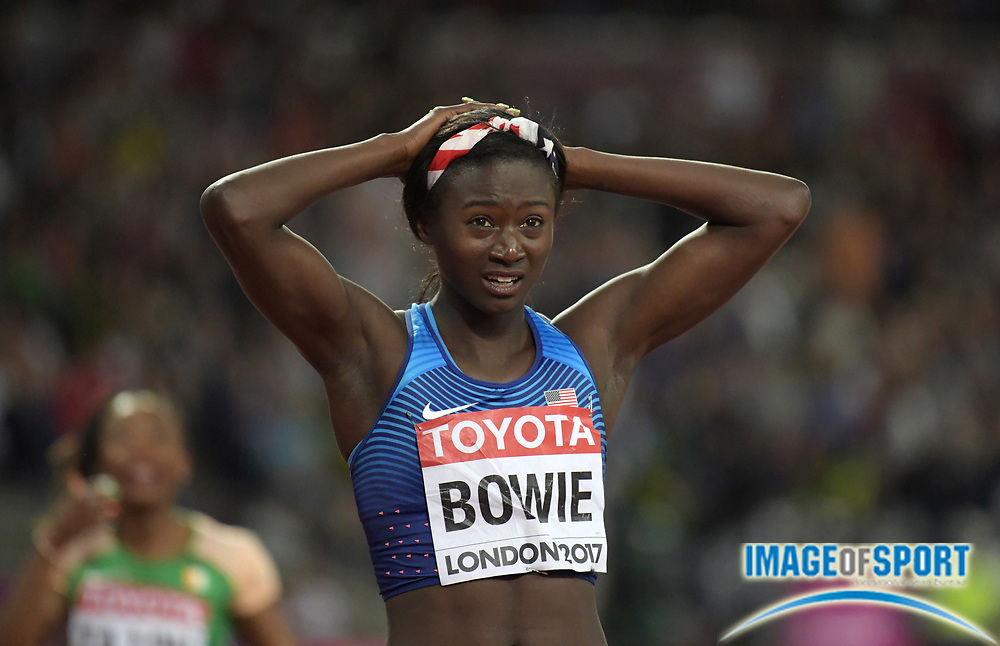 Aug 6, 2017; London, United Kingdom; Tori Bowie (USA) reacts after winning the women's 100m in 10.85 during the IAAF World Championships in Athletics at London Stadium at Queen Elizabeth Park.