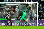 Martin Dubravka (#1) of Newcastle United makes a save during the Premier League match between Newcastle United and Southampton at St. James's Park, Newcastle, England on 8 December 2019.