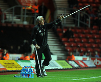 "St Mary's Ground Southampton v Wolverhampton Wanderers (1-2) Championship 15/11/2008<br /> Wolves manager Mick ""Long John"" McCarthy still on crutches after last week's operation - urges his team to victory<br /> Photo Roger Parker Fotosports International"
