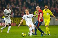 Anders Konradsen / Florent Balmont - 15.03.2015 - Lille / Rennes - 29e journee Ligue 1<br /> Photo : Andre Ferreira / Icon Sport