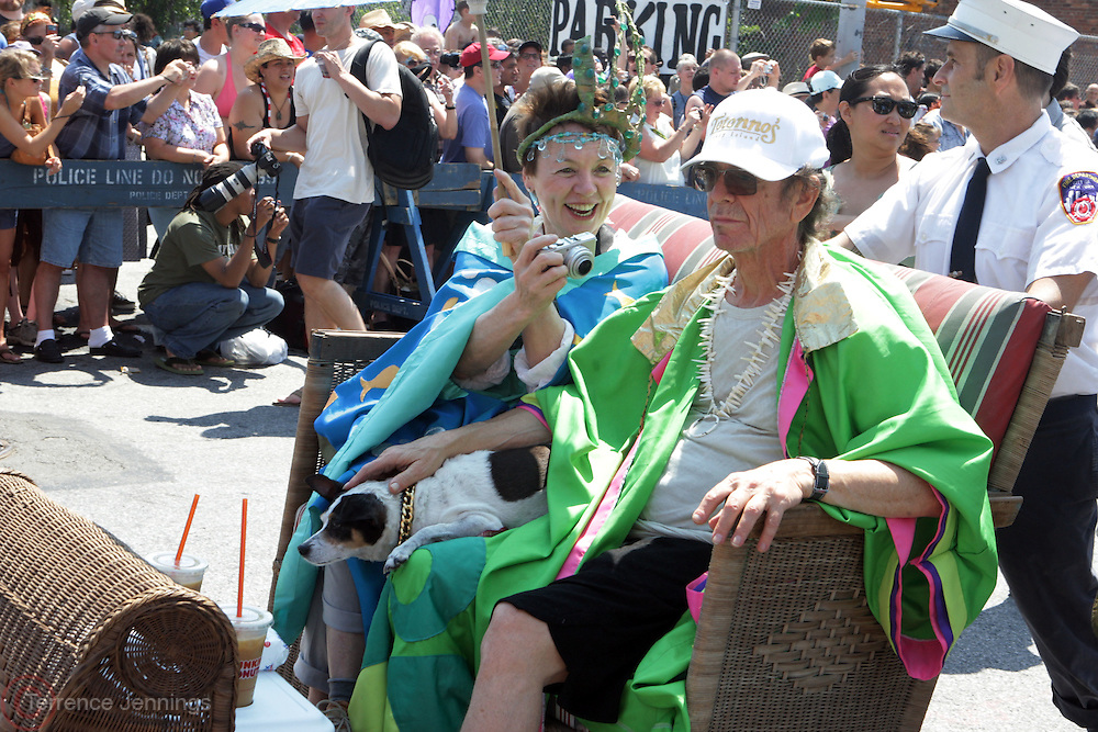 19 June 2010-Coney Island, Brooklyn, New York- Queen Mermaid Laurie Andersen and King Neptune Lou Reed at The 2010 Mermaid Parade where King Neptune Lou Reed and Queen Mermaid presided over the festivities of the Mermaid Parade...A completely original creation of Coney Island USA, the Mermaid Parade is the nation's largest art parade and one of New York City's greatest summer events.The Mermaid Parade celebrates the sand, the sea, the salt air and the beginning of summer, as well as the history and mythology of Coney Island, Coney Island pride, and artistic self-expression.