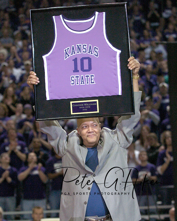 Kansas State University retired Chuckie Williams number at halftime of the Wildcats game with Iowa State at Bramlage Coliseum in Manhattan, Kansas, February 8, 2006.  Chuckie Williams played at Kansas State from 1972-76 and later played in the NBA for the Cleveland Cavaliers.