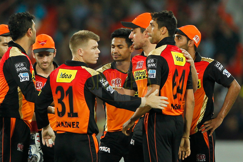 Sunrisers Hyderabad players celebrates the wicket of Mayank Agarwal of Delhi Daredevils during match 42 of the Vivo IPL 2016 (Indian Premier League ) between the Sunrisers Hyderabad and the Delhi Daredevils held at the Rajiv Gandhi Intl. Cricket Stadium, Hyderabad on the 12th May 2016<br /> <br /> Photo by Deepak Malik / IPL/ SPORTZPICS