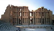 """Libia  Sabratha .Città  romana a circa 67km da Tripoli.Teatro Romano,il fondale """"Scaenae frons"""" a tre ordini.<br /> Sabratha Libya.Roman city about 67km from Tripoli.<br /> Roman Theatre,the seabed """"scaenae frons"""" three orders."""