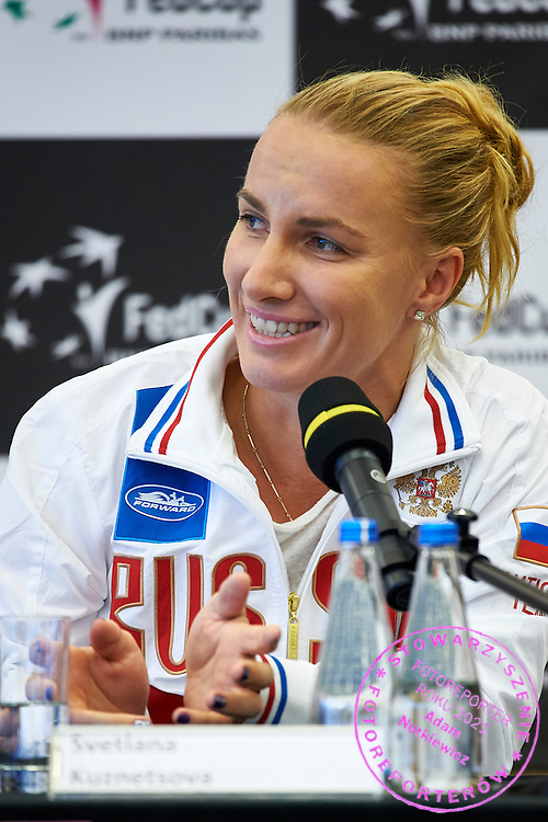 Svetlana Kuznetsova from Russia speaks during official draw one day before the Fed Cup / World Group 1st round tennis match between Poland and Russia at Holiday Inn on February 6, 2015 in Cracow, Poland.<br /> <br /> Poland, Cracow, February 6, 2015<br /> <br /> Picture also available in RAW (NEF) or TIFF format on special request.<br /> <br /> For editorial use only. Any commercial or promotional use requires permission.<br /> <br /> Adam Nurkiewicz declares that he has no rights to the image of people at the photographs of his authorship.<br /> <br /> Mandatory credit:<br /> Photo by &copy; Adam Nurkiewicz / Mediasport