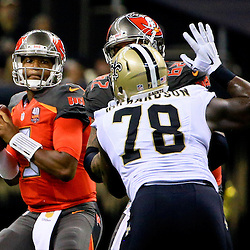 Sep 20, 2015; New Orleans, LA, USA; Tampa Bay Buccaneers quarterback Jameis Winston (3) is pressured by New Orleans Saints defensive end Bobby Richardson (78) during the second quarter of a game at the Mercedes-Benz Superdome. Mandatory Credit: Derick E. Hingle-USA TODAY Sports