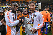 Wolverhampton Wanderers defender Matt Doherty (2) and Wolverhampton Wanderers forward Benik Afobe (19) with family during the EFL Sky Bet Championship match between Wolverhampton Wanderers and Sheffield Wednesday at Molineux, Wolverhampton, England on 29 April 2018. Picture by Alan Franklin.
