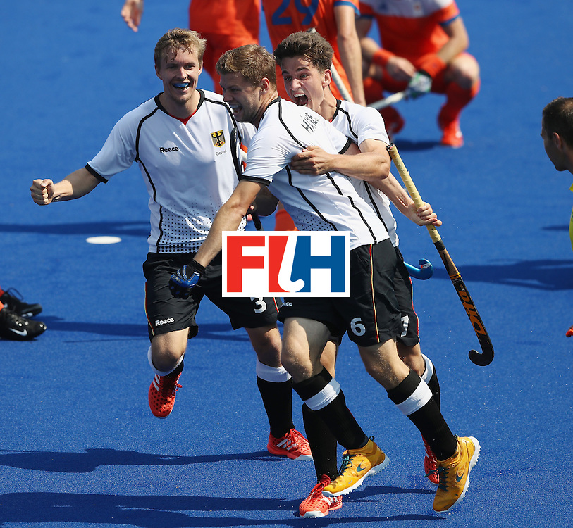 RIO DE JANEIRO, BRAZIL - AUGUST 18:  Martin Haner of Germany celebrates after scoring their first goal during the Men's Bronze Medal match between the Netherlands and Germany on Day 13 of the Rio 2016 Olympic Games held at the Olympic Hockey Centre on August 18, 2016 in Rio de Janeiro, Brazil.  (Photo by David Rogers/Getty Images)