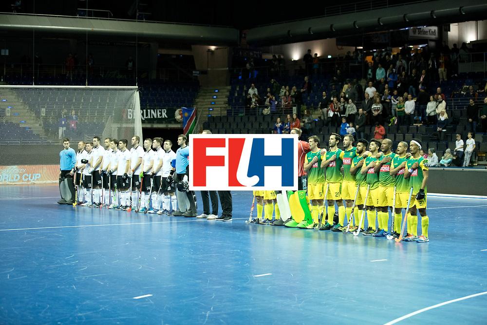 BERLIN - Indoor Hockey World Cup<br /> Men: Russia - South Africa<br /> foto: line up.<br /> COPYRIGHT WILLEM VERNES