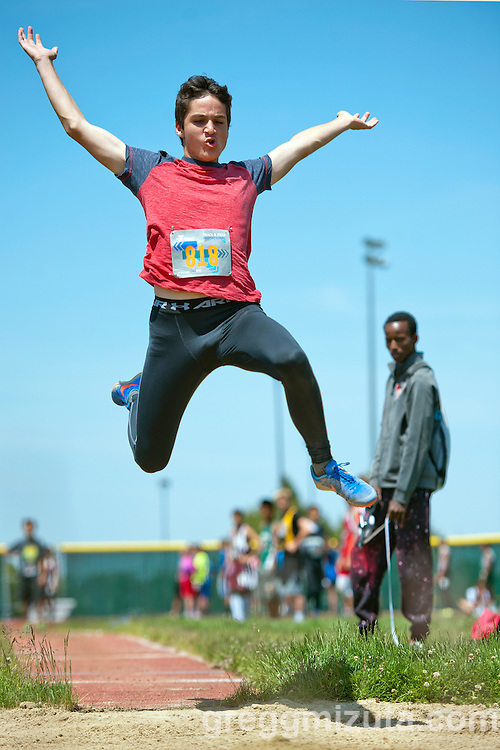 River Glen's Lucas Caballero competes in the YMCA Track &amp; Field Middle School Invitational long jump on May 28, 2016 at Mountain View High School, Meridian, Idaho. <br /> <br /> Caballero won the event with a jump of 19-08.50.