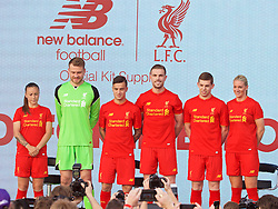 LIVERPOOL, ENGLAND - Monday, May 9, 2016: Liverpool's Natasha Harding, goalkeeper Simon Mignolet, Philippe Coutinho Correia, captain Jordan Henderson, Jon Flanagan, Gemma Bonner at the launch of the New Balance 2016/17 Liverpool FC kit at a live event in front of supporters at the Royal Liver Building on Liverpool's historic World Heritage waterfront. (Pic by David Rawcliffe/Propaganda)