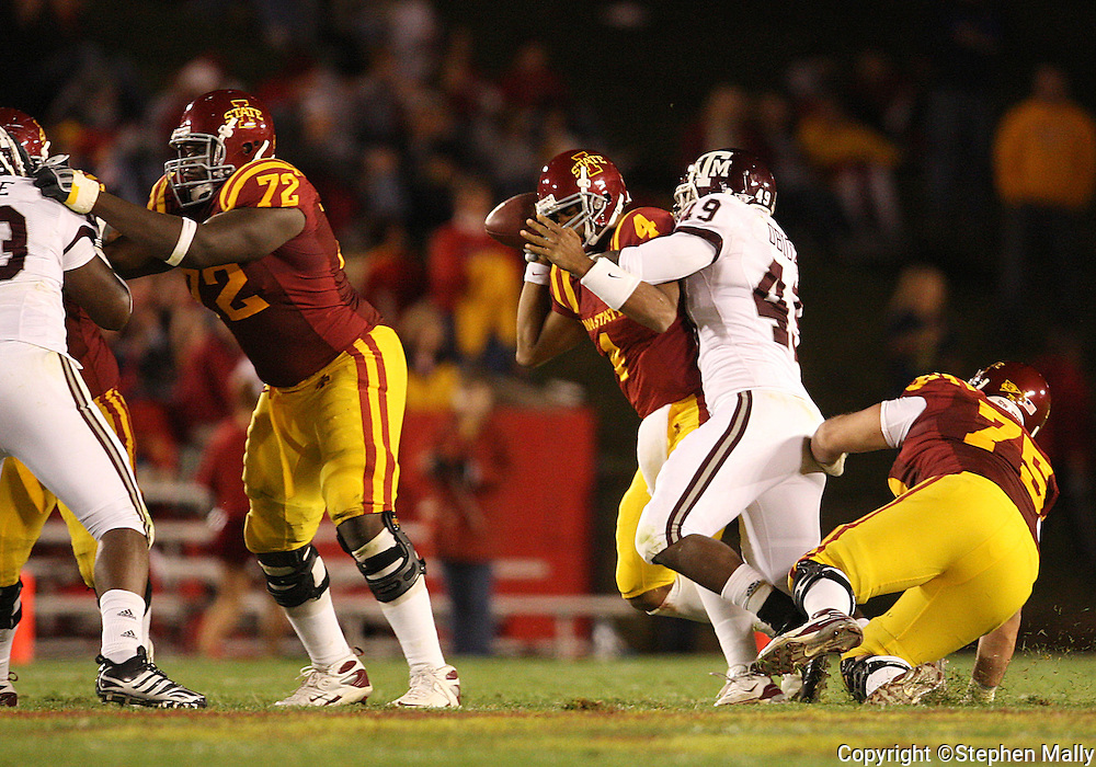 25 OCTOBER 2008: Iowa State quarterback Austen Arnaud (4) is sacked by Texas A&M defensive lineman Cyril Obiozor (49) in the first half of an NCAA college football game between Iowa State and Texas A&M, at Jack Trice Stadium in Ames, Iowa on Saturday Oct. 25, 2008. Texas A&M beat Iowa State 49-35.