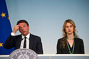 Rome jun 15th 2016, the cabinet meeting adopts a law against absent public workers. In the picture Matteo Renzi, and the minister of Public Service, Marianna Madia - © PIERPAOLO SCAVUZZO
