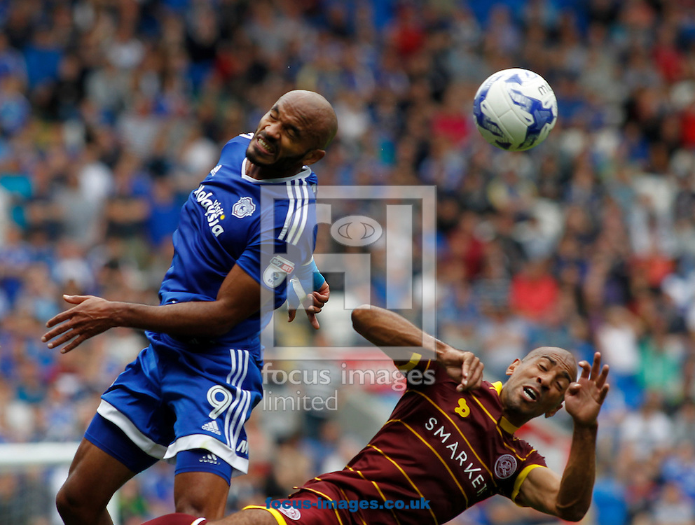 Frederic Gounongbe of Cardiff City and y of Queens Park Rangers during the Sky Bet Championship match at the Cardiff City Stadium, Cardiff<br /> Picture by Mike Griffiths/Focus Images Ltd +44 7766 223933<br /> 14/08/2016