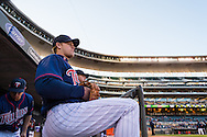 Justin Morneau #33 of the Minnesota Twins looks on from the steps of the dugout before Game 2 of a split doubleheader against the Miami Marlins on April 23, 2013 at Target Field in Minneapolis, Minnesota.  The Marlins defeated the Twins 8 to 5.  Photo: Ben Krause