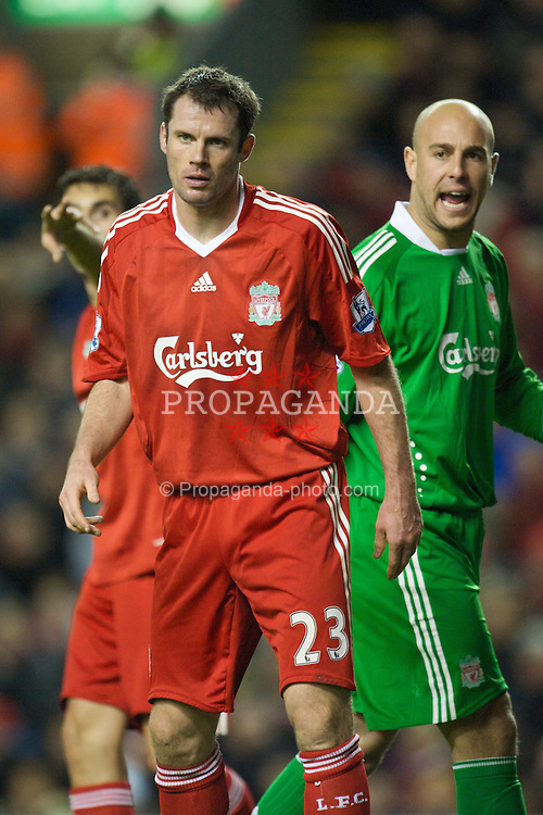 LIVERPOOL, ENGLAND - Saturday, December 13, 2008: Liverpool's Jamie Carragher and goalkeeper Pepe Reina in action against Hull City during the Premiership match at Anfield. (Photo by David Rawcliffe/Propaganda)