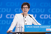 26 FEB 2018, BERLIN/GERMANY:<br /> Annegret Kramp-Karrenbauer, CDU, desig. Generalsekretaerin, haelte eine Rede, CDU Bundesparteitag, Station Berlin<br /> IMAGE: 20180226-01-148<br /> KEYWORDS: Party Congress, Parteitag