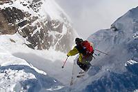Teton Gravity Research athlete Chris Benchetler drops into Corbet's Couloir at Jackson Hole Mountain Resort, Wyoming.