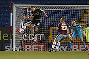 Burnley defender Ben Mee  beats Nottingham Forest forward Jamie Ward  in the air during the Sky Bet Championship match between Burnley and Nottingham Forest at Turf Moor, Burnley, England on 23 February 2016. Photo by Simon Davies.