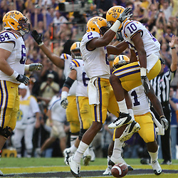 November 25, 2011; Baton Rouge, LA, USA; LSU Tigers wide receiver Russell Shepard (10) celebrates with wide receiver Rueben Randle (2) following a touchdown against the Arkansas Razorbacks during the second quarter of a game at Tiger Stadium.  Mandatory Credit: Derick E. Hingle-US PRESSWIRE