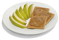 crackers with almond butter and sliced pears