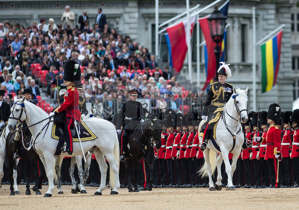 © London News Pictures. 30/05/2015. London, UK. Major General Ed Smyth-Osbourne, the General Officer Commanding The Household Division inspects the troops on horse back. The Major General's Review on Horse Guards Parade, London. 5,500 spectators filled the stands to witness the first of three annual world class military demonstrations that culminate with the Queen's Birthday Parade on 13th June. Photo credit: Sergeant Rupert Frere/LNP