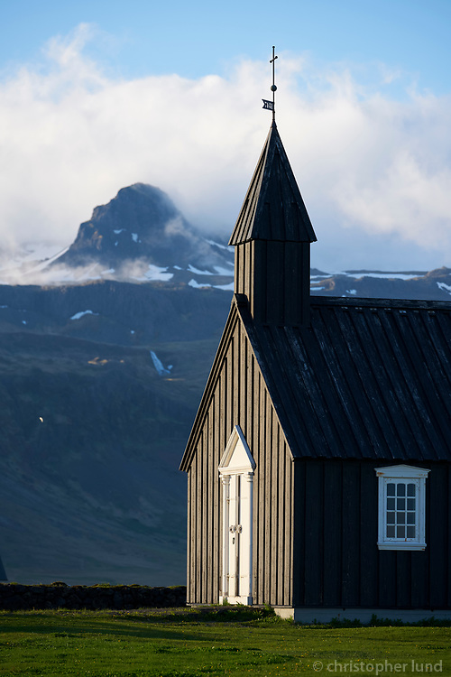 The black church at Búðir. Snæfellsnes Peninsula, West Iceland.