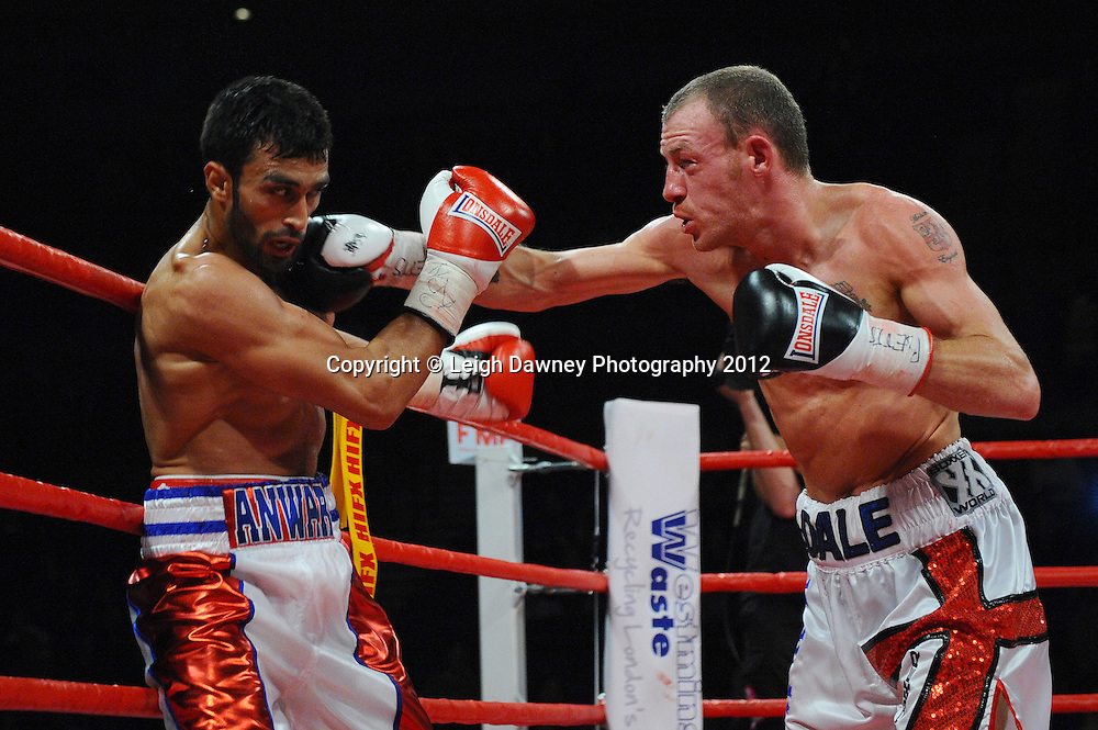 Dale Miles defeats Adil Anwar in a 12x3 Light welterweight contest at the Echo Arena, Liverpool on 13th October 2012. Frank Maloney Promotions © Leigh Dawney Photography 2012.