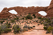 North & South Window Arches. Arches National Park, Moab, Utah, USA.
