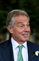 Former Prime Minister Tony Blair's Son Euan Blair Wedding to Suzanne Ashman at All Saints Church in  Wotton Underwood, United Kingdom. Saturday, 14th September 2013. Picture by Ben Stevens / i-Images<br /> <br /> Pictured is Tony Blair leaving All Saints Church.