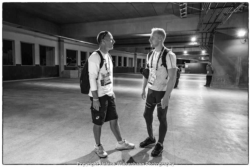 Ronald Hertog and coach Guido Bonsen speak after  the  Men's 100m T44 serie during the Paralympic Games 2016 on day 1, September 8 2016, Rio de Janeiro, Brasil.