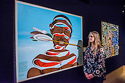 Chéri Samba (Democratic Republic of Congo, born 1956), 'J'aime la couleur', est £25,000-35,000<br /> Bonhams previews works from its Africa Now sail - the first contemporary sale of African artists - and its Gutai and ZERO exhibition. In their offices on New Bond Street.