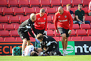 Bolton Wanderers midfielder Mark Davies (16) down injured during the EFL Sky Bet Championship match between Charlton Athletic and Bolton Wanderers at The Valley, London, England on 27 August 2016. Photo by Matthew Redman.