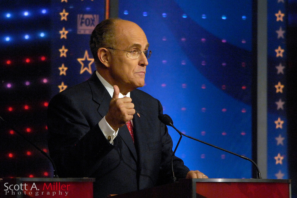 Orlando, Fla., USA; Oct. 21, 2007 - Republican presidential hopeful  Rudy Giuliani during the Florida Republican debate hosted by FOX News in Orlando, Fla. ..©2007 Scott A. Miller