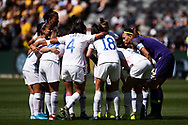 SYDNEY, AUSTRALIA - NOVEMBER 09: Chile team huddle during the International friendly soccer match between Matildas and Chile on November 09, 2019 at Bankwest Stadium in Sydney, Australia. (Photo by Speed Media/Icon Sportswire)