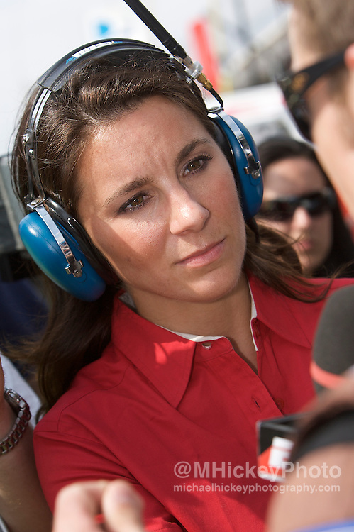ESPN pit reporter Brienne Pedigo seen in the pits during qualifications for the Indy 500 at the Indianapolis Motor Speedway. Photo by Michael Hickey
