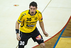 Luka Dobelsek of Gorenje during handball match between RK Gorenje Velenje and RK Celje Pivovarna Lasko in Final match of 1st NLB League - Slovenian Championship 2013/14 on May 23, 2014 in Rdeca dvorana, Velenje, Slovenia. Photo by Vid Ponikvar / Sportida