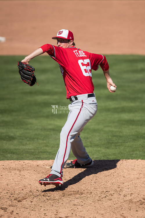 FORT MYERS, FL- FEBRUARY 26: Erick Fedde #62 of the Washington Nationals pitches against the Minnesota Twins on February 26, 2017 at Hammond Stadium in Fort Myers, Florida. (Photo by Brace Hemmelgarn) *** Local Caption *** Erick Fedde