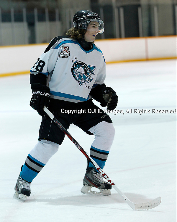Lindsay, ON - Jan 31 : Ontario Junior Hockey League game action between the Lindsay Muskies and the North York Rangers. Logan DeNoble #28 of the Lindsay Muskies Hockey Club skates after the puck during first period game action.<br /> (Photo by Tim Bates / OJHL Images)