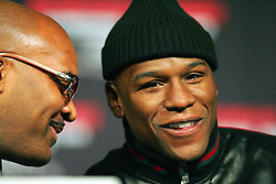 Leonard Ellerbe (manager of Floyd Mayweather) and Floyd Mayweather Jnr. Floyd Mayweather v Juan Manuel Marquez press conference at the MGM Grand to announce the comeback of Floyd Mayweather Jnr on July 18th 2009.