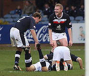 Colin Nish on the floor is congratulated after scoring - Dundee v Greenock Morton, William Hill Scottish Cup 5th Round at Dens Park .. - © David Young - www.davidyoungphoto.co.uk - email: davidyoungphoto@gmail.com
