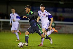 BANGOR, WALES - Tuesday, November 15, 2016: Wales' captain Tyler Roberts in action against Luxembourg during the UEFA European Under-19 Championship Qualifying Round Group 6 match at the Nantporth Stadium. (Pic by David Rawcliffe/Propaganda)