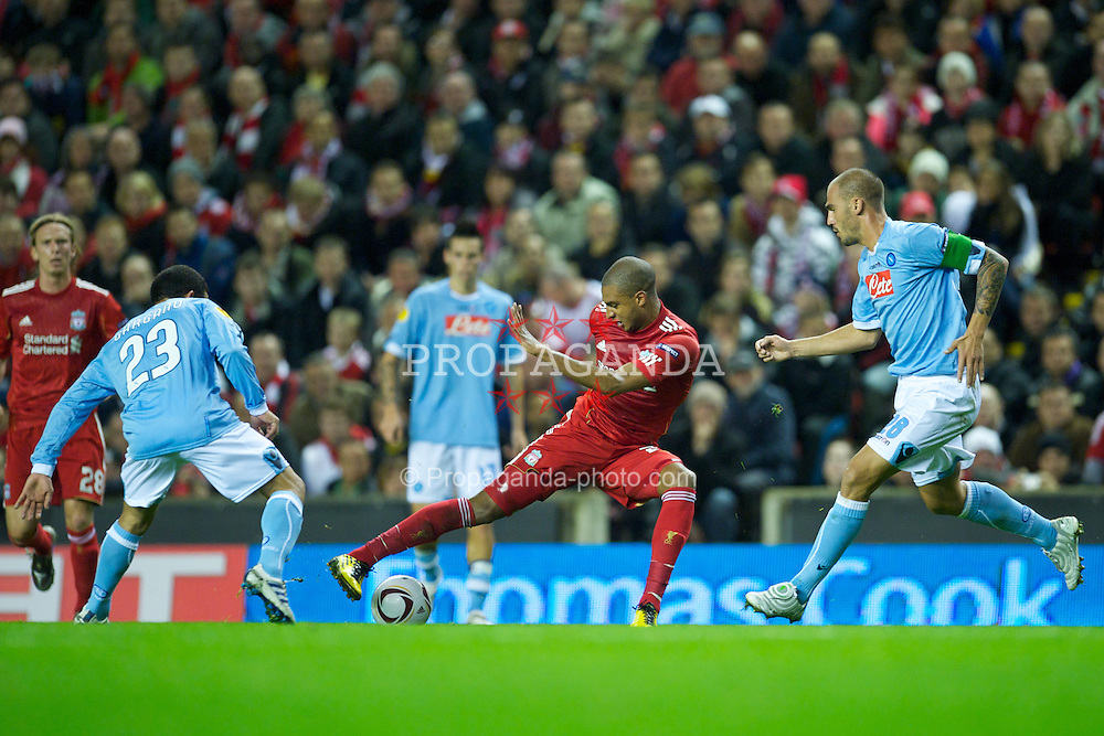 LIVERPOOL, ENGLAND - Thursday, November 4, 2010: Liverpool's David Ngog in action against SSC Napoli during the UEFA Europa League Group K Matchday 4 match at Anfield. (Photo by David Rawcliffe/Propaganda)