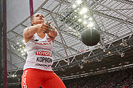 Great Britain, London - 2017 August 07: Malwina Kopron (AZS Poznan) of Poland competes in women's hammer throw final during IAAF World Championships London 2017 Day 4 at London Stadium on August 07, 2017 in London, Great Britain.<br /> <br /> Mandatory credit:<br /> Photo by © Adam Nurkiewicz<br /> <br /> Adam Nurkiewicz declares that he has no rights to the image of people at the photographs of his authorship.<br /> <br /> Picture also available in RAW (NEF) or TIFF format on special request.<br /> <br /> Any editorial, commercial or promotional use requires written permission from the author of image.