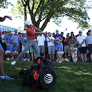 Jordan Spieth, USA, hits out of the rough during the second round of The Barclays Golf Tournament at The Plainfield Country Club, Edison, New Jersey, USA. 28th August 2015. Photo Tim Clayton