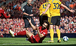 LIVERPOOL, ENGLAND - Sunday, May 12, 2019: Liverpool's Mohamed Salah during the final FA Premier League match of the season between Liverpool FC and Wolverhampton Wanderers FC at Anfield. (Pic by David Rawcliffe/Propaganda)