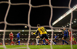 LIVERPOOL, ENGLAND - Tuesday, March 3, 2009: Liverpool's Yossi Benayoun scores the second goal past Sunderland's goalkeeper Marton Fulop during the Premiership match at Anfield. (Photo by David Rawcliffe/Propaganda)