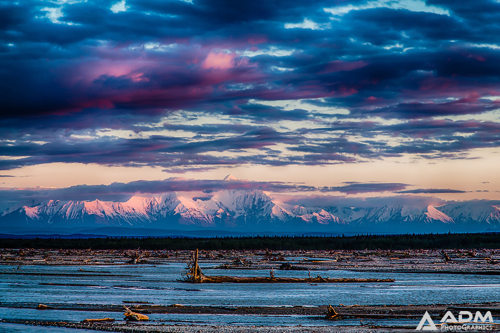 Delta River and Alaska Range viewed from Delta Junction, Alaska, summer, night