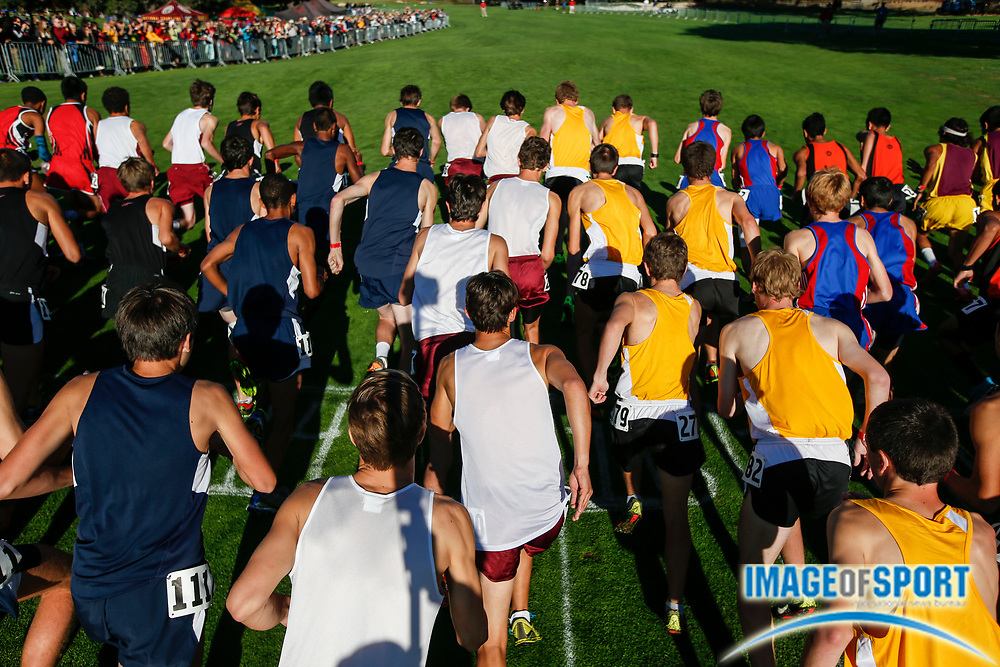 Sep 28, 2013; Stanford, CA, USA; General view of the start of the boys Division IV race in the Stanford Invitational at the Stanford Golf Course.